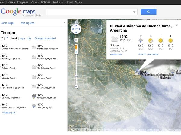 Google Maps brinda el pronostico del tiempo