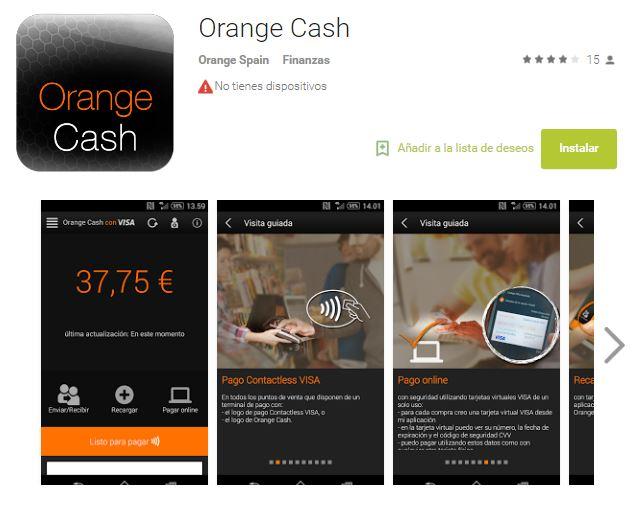 'Orange Cash', la aplicación de Orange para pagar con el móvil