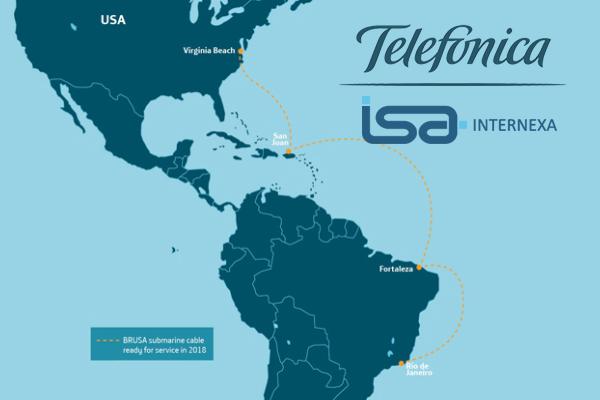 Telefónica permitirá utilizar el cable submarino Brusa a Internexa