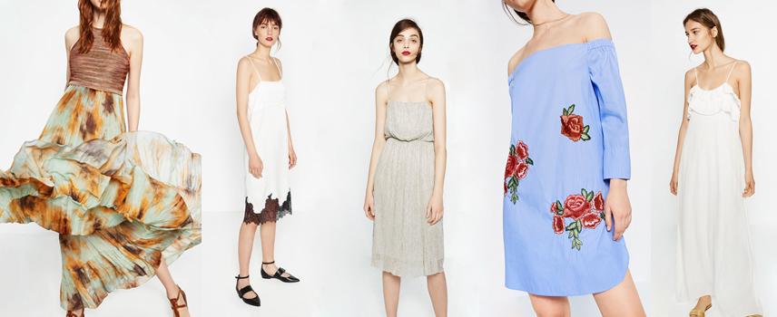 Tie-dye, metalizados y flores en la colección de vestidos de Zara