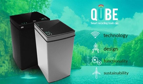 Qube, el cubo de basura inteligente