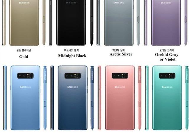 El Galaxy Note 8 disponible en 8 colores