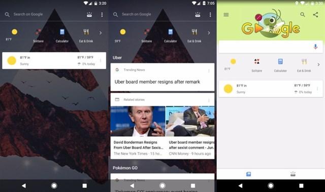 Google para Android, semitransparente