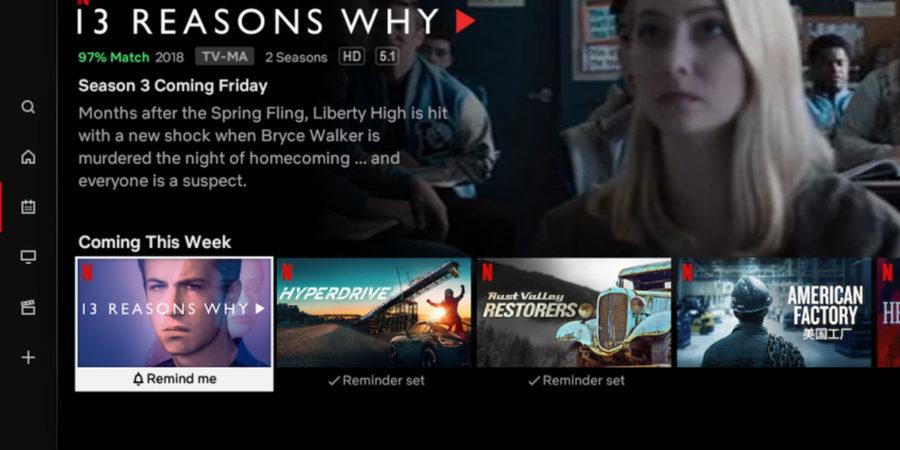 La app para Smart TV de Netflix ahora muestra las próximas novedades