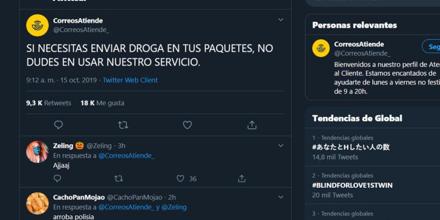 Hackean la cuenta de Correos Atiende en Twitter