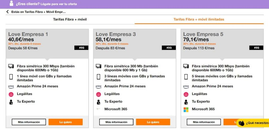 Orange lanza nuevas tarifas Love para empresas con datos ilimitados