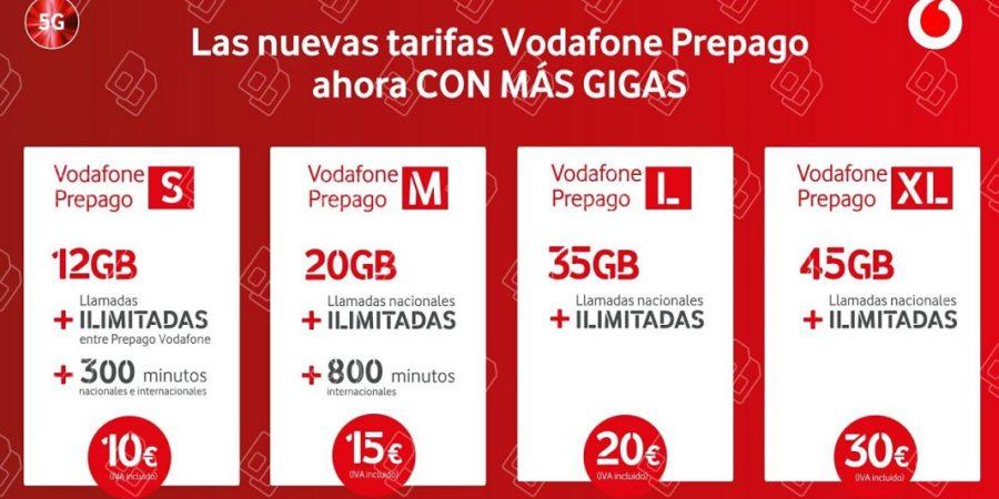 Vodafone lanza nuevas tarifas prepago y mejora las actuales con GB gratis
