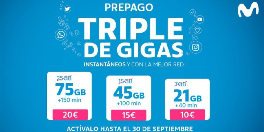 Movistar triplica los GB de sus tarifas prepago